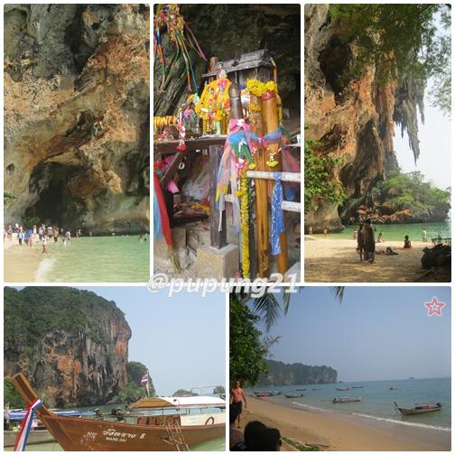 Phra Nang Beach, plus Pantai Ao Nang di kanan bawah